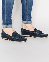 Frank Wright Suede Tassel Loafers In Navy