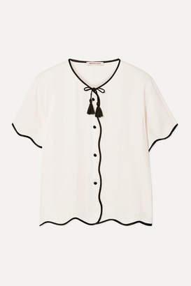Morgan Lane - Beatrice Paneled Crinkled-charmeuse Pajama Shirt - Ivory
