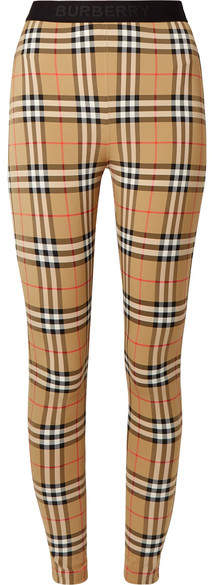 Burberry Checked Stretch-jersey Leggings - Beige