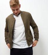 New Look Khaki Zip Sleeve Bomber Jacket