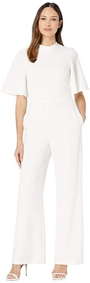 Vince Camuto Flutter Sleeve Mock Neck Tie Back Inset Waistband Jumpsuit (Ivory) Women's Jumpsuit & Rompers One Piece