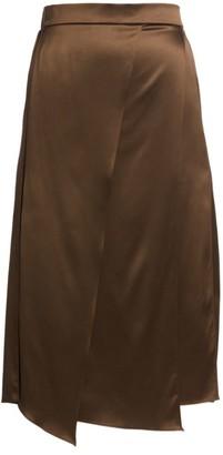 Brunello Cucinelli Metallic Panel Stretch-Silk Skirt