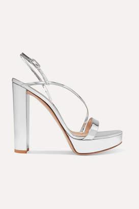 Gianvito Rossi 100 Mirrored-leather Platform Sandals - Silver