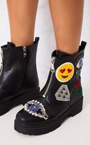PrettyLittleThing Carinia Black Applique Ankle Boots