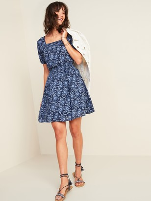 Old Navy Waist-Defined Printed Puff-Sleeve Dress for Women