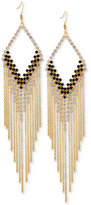 GUESS Gold-Tone Crystal and Jet Stone Fringe Drop Earrings