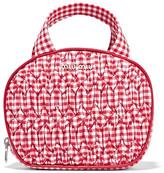 Miu Miu Leather-trimmed Gingham Matelassé Cotton Cosmetics Case - Red