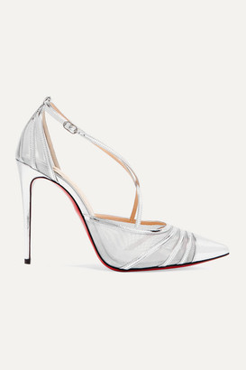 Christian Louboutin Theodorella Metallic Leather And Mesh Pumps - Silver
