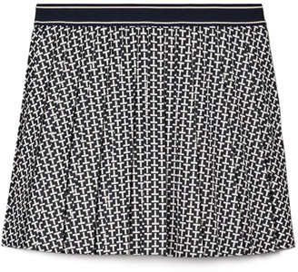 Tory Burch Printed Tech Twill Pleated Skirt
