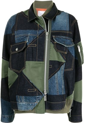 Sacai Panelled Patchwork Denim Jacket