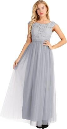 iiniim Women's Vintage Elegant Floral Lace Cap Sleeves Evening Prom Ball Gown Long Maxi Wedding Bridesmaid Dress Grey 8