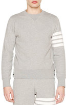 Thom Browne Crewneck Four-Stripe Sweatshirt, Light Gray