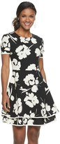 Petite Suite 7 Floral Tiered-Hem Fit & Flare Dress