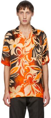 Dries Van Noten Black and Orange Camp Short Sleeve Shirt
