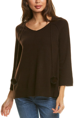 InCashmere Tie-Neck Cashmere Sweater