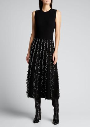 Jason Wu Collection Knit Two-Tone Ruffle Midi Dress