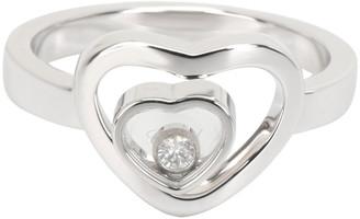 Chopard Happy Diamonds Double Heart 18K White Gold Ring Size 56