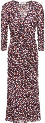Diane von Furstenberg Ruched Leopard-print Stretch-mesh Midi Dress