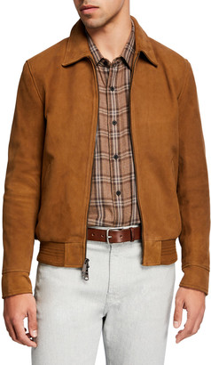 7 For All Mankind Men's Lamb Suede Blouson Jacket
