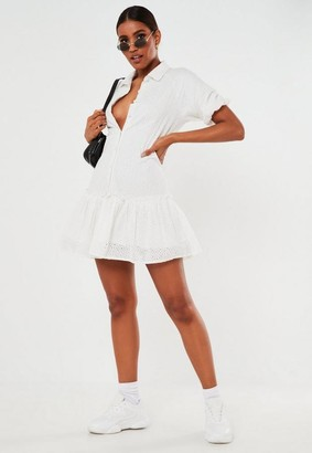 Missguided White Broderie Anglaise Ruffle Shirt Smock Dress
