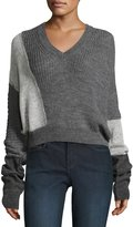 McQ Patched V-Neck Long-Sleeve Cable-Knit Sweater