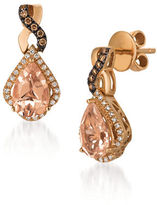 LeVian 0.53TCW Diamonds, Morganite and 14K Rose Gold Chocolatier Drop Earrings
