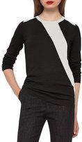Akris Diagonal-Stripe Crewneck Sweater, Moonstone/Black