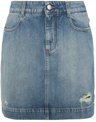 Stella McCartney Distressed denim miniskirt