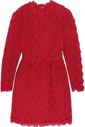 Valentino Cotton-Blend Guipure Lace Mini Dress