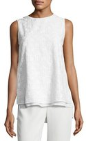Lafayette 148 New York Arla Sleeveless Heirloom-Stitch Layered Blouse, White