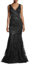 David Meister Sleeveless Beaded Embroidered Mermaid Gown, Black
