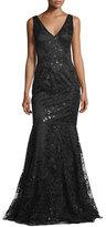 David Meister Sleeveless Beaded Embroidered Mermaid Gown, Black