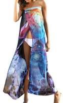 Coromose Coromose Women Chiffon Floral Swimwear Summer Beach Bikini Cover Up Long Dress