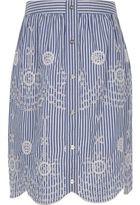River Island Girls Blue stripe embroidered midi skirt