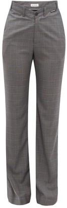 Balenciaga Checked High-rise Wool-blend Trousers - Womens - Grey Multi