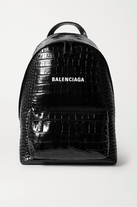 Balenciaga Everyday Croc-effect Leather Backpack - Black
