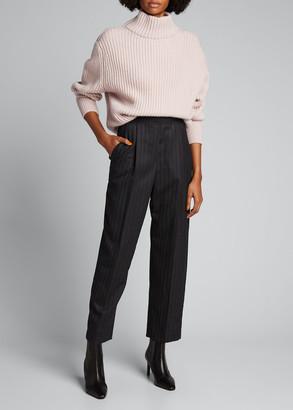 Brunello Cucinelli Wool Flannel Striped Trousers
