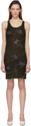 Helenamanzano Grey and Green Twist 3D Stripe Short Dress