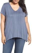 Sejour Plus Size Women's Handkerchief Hem Tee