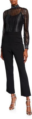 MICHAEL Michael Kors Lux Metallic Lace Long-Sleeve Flare-Leg Jumpsuit