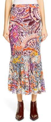 Fuzzi Mystical Print Ruffle Hem Midi Skirt