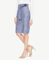 Ann Taylor Curvy Chambray Paper Bag Pencil Skirt