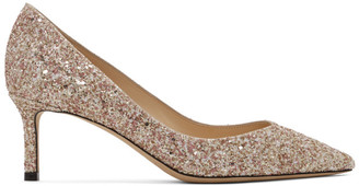 Jimmy Choo SSENSE Exclusive Pink and Gold Coarse Glitter Romy 60 Heels