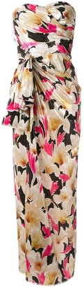 Bambah Draped Bow Floral Print Dress