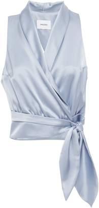 Nanushka Silo Cropped Satin Wrap Top