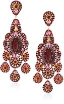 Miguel Ases Mother-Of-Pearl and Rubellite Bead Embroide Earrings