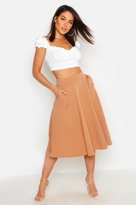 boohoo Pocket Front Crepe Skater Midi Skirt
