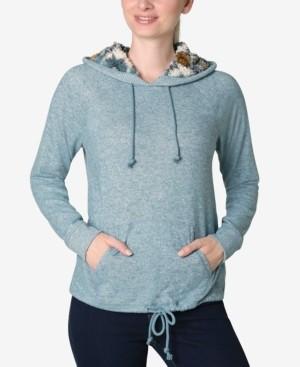 Ultra Flirt Juniors' Faux-Sherpa Tie-Bottom Hooded Sweatshirt