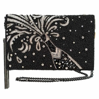 Mary Frances Wanna Sparkle Embellished Champagne Crossbody Clutch