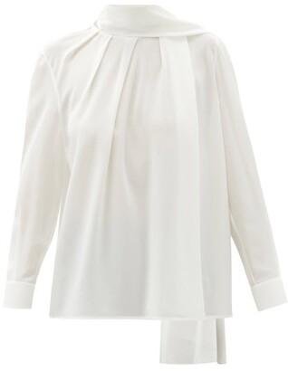 Alexander McQueen Scarf-neck Silk-georgette Blouse - Ivory
